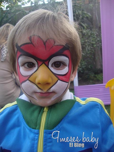 Mi hermoso Noah maquillado como angry bird, ¡¡le gustaban tanto!! 2013